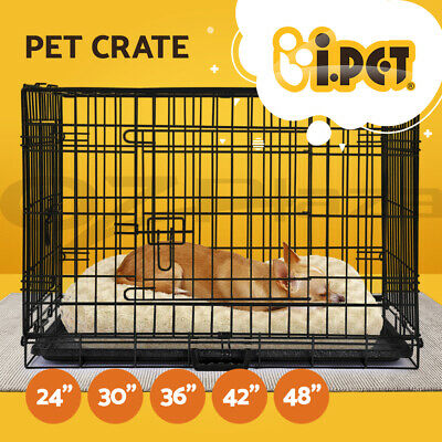 "i.Pet Pet Dog Cage Crate Kennel Cat Collapsible Metal Cages 24""~ 48"" Playpen Pen"