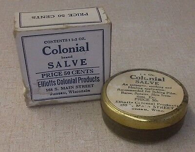 Antique Juneau WI Elliotts Colonial Salve Tin And Box Almost Full