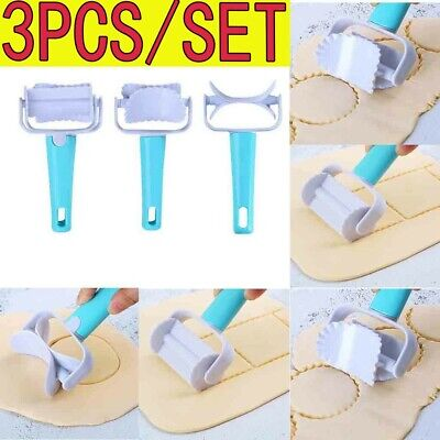 3X Rolling Cookie Pastry Dough Cutter Roller Slice Biscuit Cutting Blader DIY US