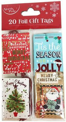 Christmas Gift Tags Xmas 20 Pack Brown Kraft Foil Luggage Labels Bulk Wrapping