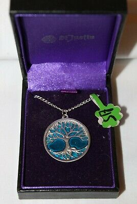 Tree of Life Pendant / Necklace with Blue Enamel St Justin Pewter BNIB