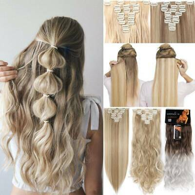 ON CLEARANCE Clip in Full Head Natural as Human Hair Extensions 8 Pcs Long Wavy