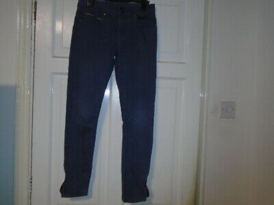 Girls blue jeans style slim leg trousers, zips at hems, PRIMARK, 11-12 years