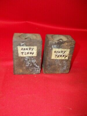 Pair Old Original Henry Terry P/S  Wood Works Weight Clock Weights !!!