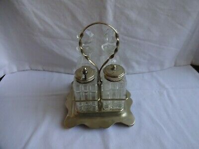 Antique Silver Plated EPNS cruet set On Stand Salt Mustard Oil & Vinegar