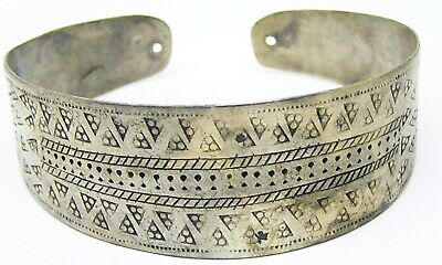 8th-10th century A.D Scandinavian Viking Silver Cuff Bracelet Punched Decoration