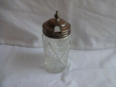VINTAGE SILVER PLATE & GLASS MUSTARD POT WITH HINGED LID HEIGHT 12 X 4.5 cm