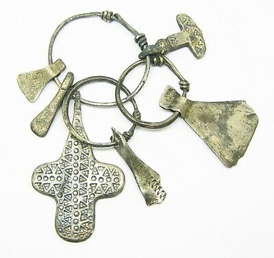 9th - 10th century AD Scandinavian Viking Silver Amulets Mjölnir Cross and Axes