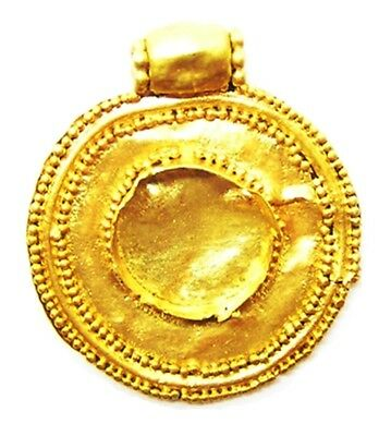8th - 10th century A.D. Nice Excavated Anglo Saxon Period Gold Scutiform Pendant