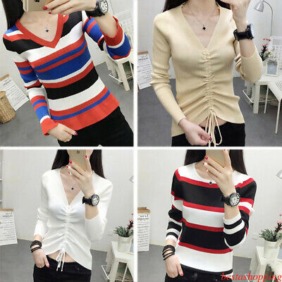 Chic Womens Drawstring V Neck Striped Knit Sweater Casual Crop Tops Blouse Shirt