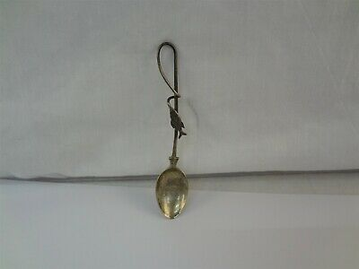 """Vintage Sterling Silver Fish On A Line Fishing 4-1/8"""" Souvenir Spoon Monogrammed"""