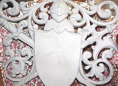 COAT OF ARMS CAST METAL WALL PLAQUE swords knight medieval knight jousting decor