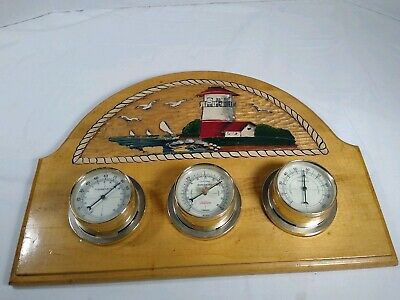 Vtg. Sunbeam Nautical Lighthouse Weather Station Thermometer-Barometer-Humidity!