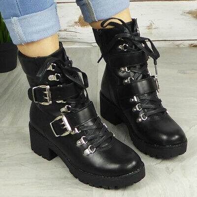 Ladies Ankle Boots Womens Chunky High Heel Goth Punk Lace Up Platform Shoes Size