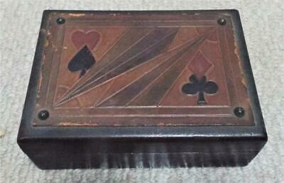 Wooden Patience Playing Card Box with Leather Top Antique Vintage Box c1910