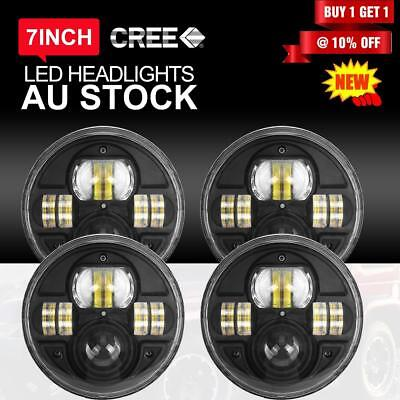 "4x 7"" 200W H4 Round LED Headlights For Jeep Wrangler TJ JK 97-17 Halo Angel Eyes"