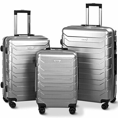 "Set of 3 Luggage Expandable Trolley Suitcases with TSA Lock 20"" 24"" 28"" Gray"