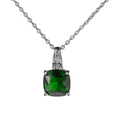 Antique Fire Rectangle Green Topaz Gemstone Silver Necklace Pendants With Chain