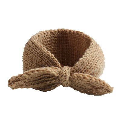 Knitted Rabbit Ear Wool Headband Kids Baby Girls Solid Color Warm Hairband UK
