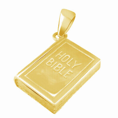 Valentine's Day 18K Yellow Gold On Silver Holy Bible Charm Gold Bilble Pendant