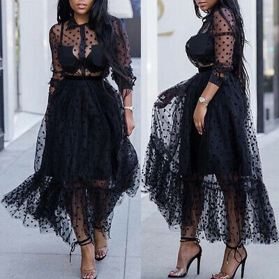 Womens Sexy Lace Mesh Sheer Dresses Ladies Long Sleeve Evening Tulle Midi Dress