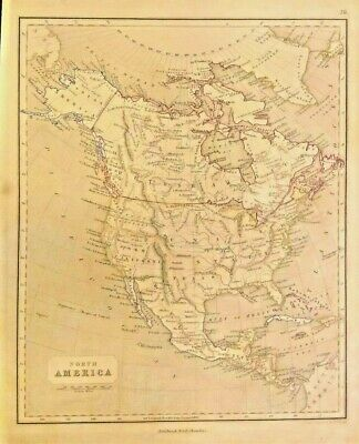Antique Map of North America 1845-48 RUSSIAN AMERICA, BRITISH AMERICA FRAMEABLE