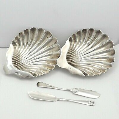 Victorian Sterling Silver Deakin & Sons 2 Shell Butter Dishes & Knives Sheffield