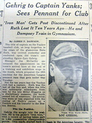 1935 New York Times newspaper LOU GEHRIG is NAMED CAPTAIN ofThe NEW YORK YANKEES