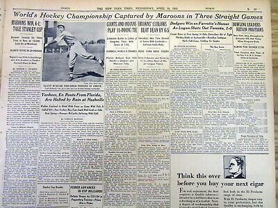 1935 NY Times newspaper MONTREAL MAROONS NHL CHAMPION Win Ice Hockey STANLEY CUP