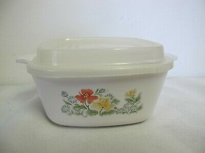Corning Ware Petite Pan Autumn Meadow P-43 Mini Casserole With Plastic Cover