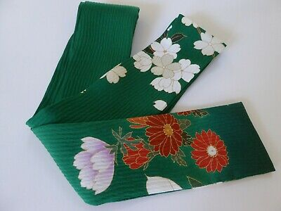 "Japanese Obi Belt Green Silk Kimono Fabric Floral Design Scarf/ 63""L x 2.75""W"
