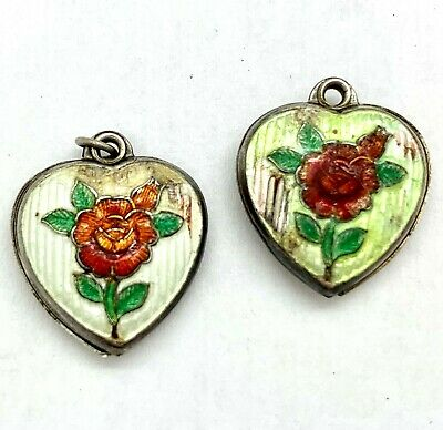 VINTAGE STERLING PUFFY HEART CHARM - Guilloche Green Enamel & Red Rose
