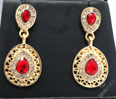 Large 3CT Red Ruby Dangle Earrings Women Anniversary Jewelry Yellow Gold Plated