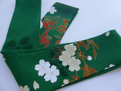 "Japanese Obi Belt Green Silk Kimono Fabric Floral Design Scarf/ 80""L x 3""W"
