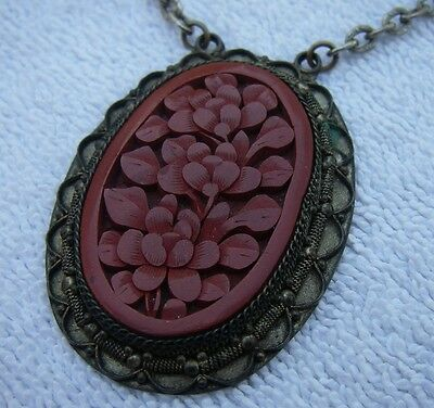 Antique CHINESE CINNABAR LACQUER NECKLACE-Copper Back-18 Inch-CHINA Mark-NR