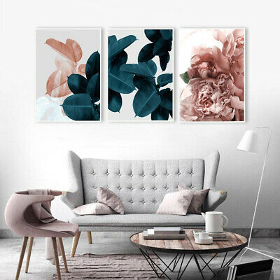 Canvas Painting Leaf Flower Picture Art Poster Wall Office Living Room Decor Boi