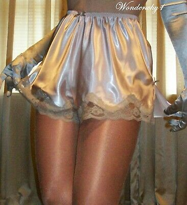 Vtg Style Fair Peach Pink Lace Satin Side Slit Slip French Knickers Tap Panty 2X