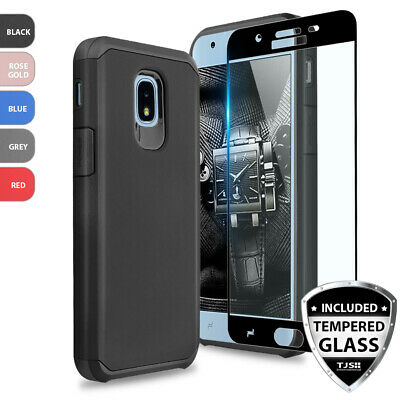For Samsung Galaxy Express Prime 3 Shockproof Rubber Phone Case+Tempered Glass