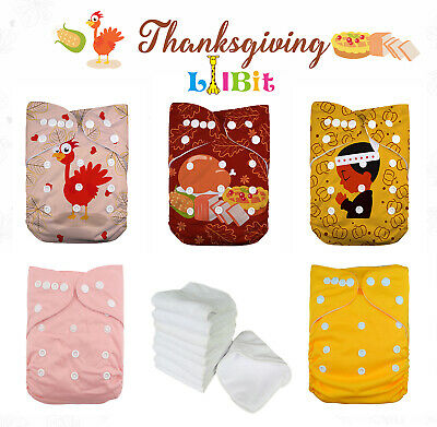 LilBit Holiday Prints Thanksgiving Reusable Washable Pocket Baby Cloth Diapers