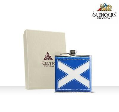 Glencairn Celtic Gifts Stainless Steel Saltire Hip Flask Leather Finish 6oz