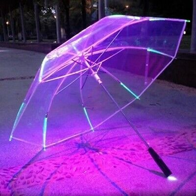 Umbrella With LED Features 8 Rib Light Transparent With Flashlight Handle