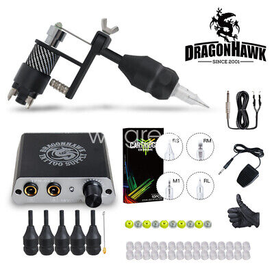 Dragonhawk Complete Tattoo Kit Motor Machine Gun Power Supply Needles Grips