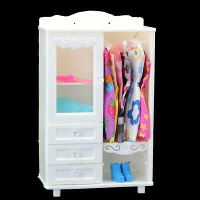 Luxury White Wardrobe Closet Accessories Furniture Girls Gift For Barbie Doll