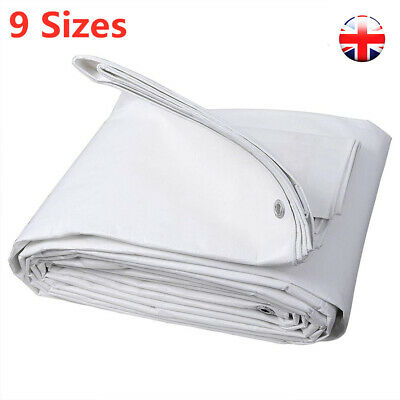 Heavy Duty Waterproof Tarpaulin Tarp Ground Sheet Garden Boat White Cover 9 Size