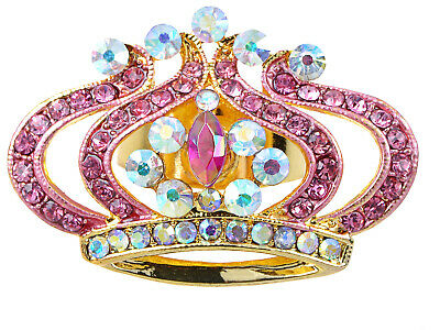 Stainless Steel Royalty Aurora Borealis AB Rose Gold Crystal Crown of Life Ring