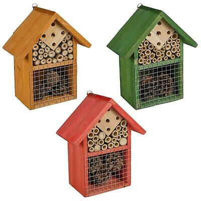 Wooden Insect Bug Hotel House Outdoor Garden Natural Shelter Bees Flies Ladybird