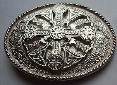 Solid Sterling Silver Oval Celtic Cross Belt Buckle