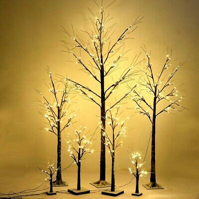 1.5Ft Christmas Xmas Brown Birch Snow Tree Branch w/ 24 LED Lights Xmas Lamp