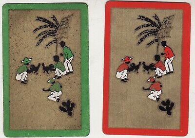 DECO WEST INDIES COCK FIGHT (RED/GREEN/GOLD) Pair of Vintage Swap/Playing Cards