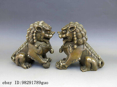Chinese Brass Copper Animal Feng shui Foo Dog Lion town house Statue pair